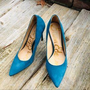 Sam Edelman suede teal heels size 7 1/2